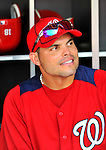 21 June 2011: Washington Nationals catcher Ivan Rodriguez sits in the dugout prior to a game against the Seattle Mariners at Nationals Park in Washington, District of Columbia. Pudge was honored during pre-game events for his anniversary of 20 years in the Majors. The Nationals rallied from a 5-1 deficit, scoring 5 runs in the bottom of the 9th, to defeat the Mariners 6-5 in inter-league play. Mandatory Credit: Ed Wolfstein Photo