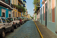 Old San Juan, Historic Colonial Section, Puerto Rico, USA, Cobble stoned Street, Colorful Houses; USA; Caribbean; Island; Greater Antilles; Commonwealth Puerto Rico