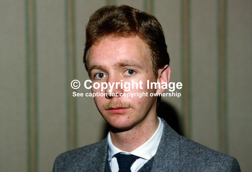 Paul O'Donnell, chairman, Waterside, Londondery branch, of the SDLP, 19850009POD..Copyright Image from Victor Patterson, 54 Dorchester Park, Belfast, UK, BT9 6RJ..Tel: +44 28 9066 1296.Mob: +44 7802 353836.Voicemail +44 20 8816 7153.Skype: victorpattersonbelfast.Email: victorpatterson@mac.com.Email: victorpatterson@ireland.com (back-up)..IMPORTANT: If you wish to use this image or any other of my images please go to www.victorpatterson.com and click on the Terms & Conditions. Then contact me by email or phone with the reference number(s) of the image(s) concerned.