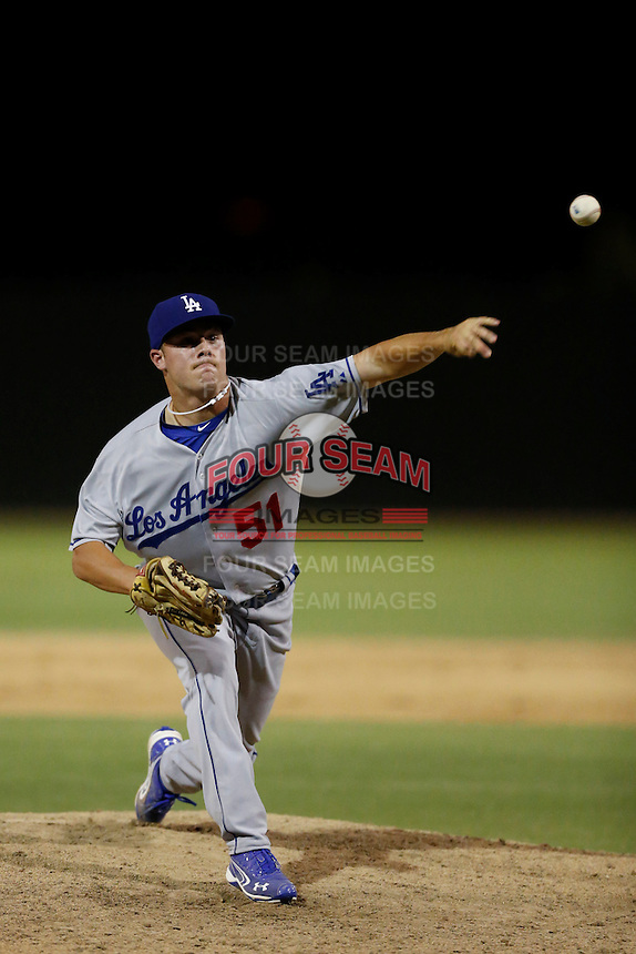 Billy Flamion #51 of the AZL Dodgers pitches against the AZL Athletics at Phoenix Municipal Stadium on July 10, 2013 in Phoenix, Arizona. AZL Athletics defeated the AZL Dodgers, 7-1. (Larry Goren/Four Seam Images)