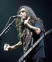 Tom Araya of Slayer performing at Festival Hall, Melbourne, 9 October 2009