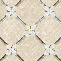 Name: Flower Lattice<br /> Style: Classic<br /> Product Number: CB218<br /> Description: Flower Lattice in Calacatta Tia, Jura Gray, Montevideo, Verde Luna, Crema Valencia (p), Crema Marfil (t)