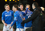 St Johnstone v Motherwell....25.02.14    SPFL<br /> Steven MacLean scores his first goal with Tommy Wright<br /> Picture by Graeme Hart.<br /> Copyright Perthshire Picture Agency<br /> Tel: 01738 623350  Mobile: 07990 594431