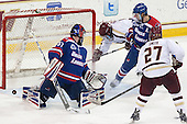 Connor Hellebuyck (UML - 37), Brendan Silk (BC - 9), Zack Kamrass (UML - 27), Quinn Smith (BC - 27) - The Boston College Eagles defeated the visiting University of Massachusetts Lowell River Hawks 3-0 on Friday, February 21, 2014, at Kelley Rink in Conte Forum in Chestnut Hill, Massachusetts.