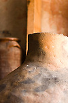 Israel, Achziv, Ancient clay pots on display