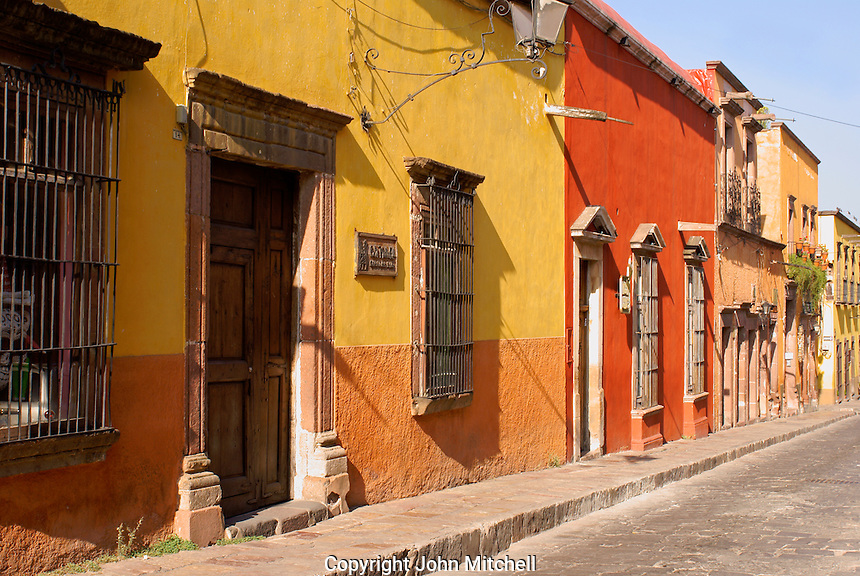 Colorful Spanish colonial houses on Canal Street in San Miguel de Allende, Mexico