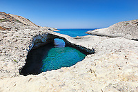 Strange rock formations at the beach Kapros in Milos, Greece
