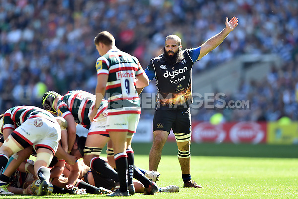 Kane Palma-Newport of Bath Rugby looks on. The Clash, Aviva Premiership match, between Bath Rugby and Leicester Tigers on April 8, 2017 at Twickenham Stadium in London, England. Photo by: Patrick Khachfe / Onside Images