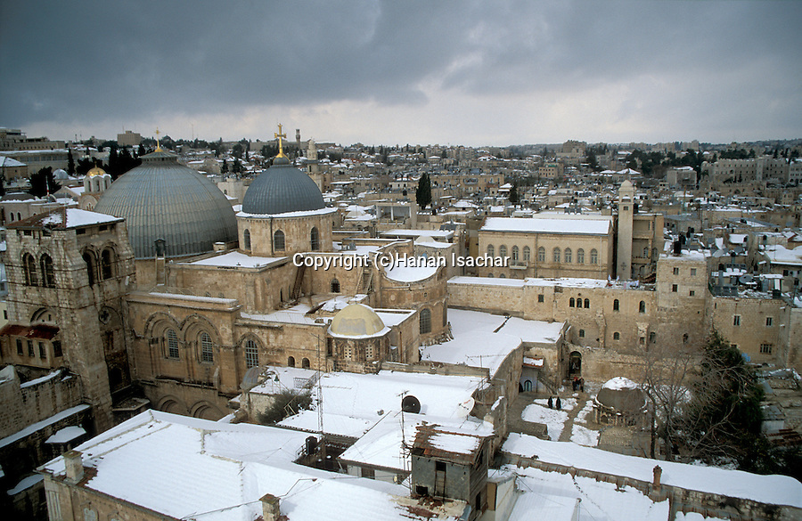 Israel, Snow over the Old City of Jerusalem, the Church of the Holy Sepulchre