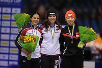 SCHAATSEN: HEERENVEEN: IJsstadion Thialf, 07-02-15, World Cup, Podium 1000m Ladies Division A, Brittany Bowe (USA), Heather Richardson (USA), Qishi Li (CHN), ©foto Martin de Jong