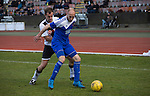 Edinburgh City 1 Cove Rangers 1, 30/04/2016. Commonwealth Stadium, Scottish League Pyramid Play Off. Dougie Gair (left) in second-half action during the Scottish pyramid play-off second leg between Edinburgh City (in white) and Cove Rangers at the Commonwealth Stadium at Meadowbank in Edinburgh. The match between the champions of the Lowland and Highland Leagues determined which club would play-off against East Stirlingshire for a place in the Scottish league. The second leg ended 1-1, giving Edinburgh City a 4-1 aggregate win. Photo by Colin McPherson.