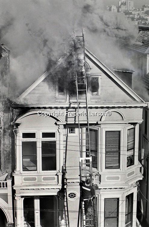 A three alarm fire at 852 Fell Street in San Francisco on 12/01/89.