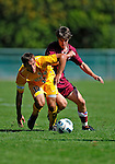 18 September 2011: University of Vermont Catamount Defenvder/Midfielder Seth Rebeor, a Junior from Fairfax, VT, works against Harvard University Crimson Midfielder Scott Prozeller, a Junior from Sudbury, MA, at Centennial Field in Burlington, Vermont. The Catamounts shut out the visiting Crimson 1-0, earning their 3rd straight victory of the 2011 season. Mandatory Credit: Ed Wolfstein Photo