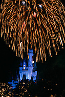 Orlando, Florida - Circa 1986. Fireworks show at Cinderella's Castle in the Magic Kingdom of Disney World. Disney World is a world-renowned entertainment complex that opened October 1, 1971 in Lake Buena Vista, FL. Now known as the Walt Disney World Resort, the property covers 25,000 acres and has an annual attendance of 52.5million people.