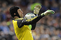 Chelsea goalkeeper Petr Cech chests the ball..Manchester City defeated Chelsea 4-3 in an international friendly at Busch Stadium, St Louis, Missouri.