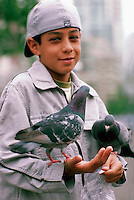 Young Boy feeding Birds, Child holding Pigeons, Granville Island, Vancouver, BC, British Columbia, Canada (No Model Release Available)