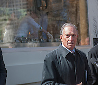 New York Mayor Michael Bloomberg at the debut of the Neapolitan Express pizza food truck at City Hall Park in New York on Thursday, February 21, 2013. The truck is the first to run 100 percent on compressed natural gas, both preparation and engine operation, in a partnership with Clean Energy Fuels. The debut of the truck was hosted by New York Mayor Michael Bloomberg and energy executive T. Boone Pickens. (© Richard B. Levine)