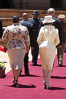 King Harald, and Queen Sonja of Norway, State visit to South Africa..Welcome Ceremony at Union Buildings ( Official Presidential Buildings ) in Pretoria..Received by HE Mr Jacob Zuma, President of The Republic of South Africa, and his wife Mantuli Zuma..and attending a Press Conference