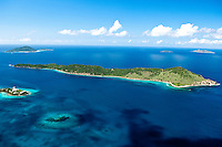 Aerial View of Thatch Cay with Coki Point and Hans Lollick in the distance<br />