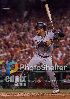 6 August 2016: San Francisco Giants outfielder Gregor Blanco in action against the Washington Nationals at Nationals Park in Washington, DC. The Giants defeated the Nationals 7-1 to even their series at one game apiece. Mandatory Credit: Ed Wolfstein Photo *** RAW (NEF) Image File Available ***