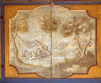 The paintings on the cupboard doors are of 'singeries' - monkeys, with gently satirical intent, imitating human behaviour.   Singerie was immensely popular across much of Europe in the seventeenth and eighteenth centuries