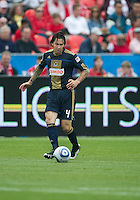 Philadelphia Union defender Danny Califf #4 in action during an MLS game between the Philadelphia Union and the Toronto FC at BMO Field in Toronto on May 28, 2011..The Philadelphia Union won 6-2..