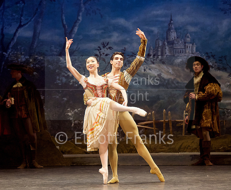 Giselle <br /> English National Ballet at The London Coliseum, London, Great Britain <br /> rehearsal <br /> 10th January 2017 <br /> <br /> <br /> <br /> <br /> Rina Kanehara <br /> Cesar Corrales <br /> Peasant pas de deux <br /> <br /> <br /> Photograph by Elliott Franks <br /> Image licensed to Elliott Franks Photography Services