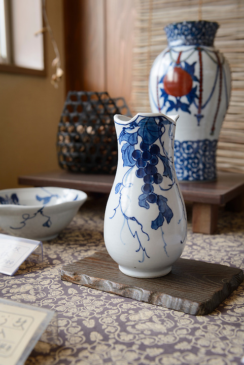 Works by ceramicist Hyodo Ito. Ginzan Onsen, Yamagata Prefecture, Japan, April 13, 2016. Once a sliver-mining town, Ginzan Onsen in Yamagata Prefecture is now one of Japan's best-known and most picturesque hot spring resorts. Its Taisho-period architecture and retro atmosphere is said to have been an inspiration for Hayao Miyazaki's Oscar-winning animated film, Spirited Away.