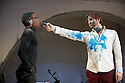 "London, UK. 15/02/2012. Filter and Sean Holmes present a version of ""A Midsummer's Night Dream"" by William Shakespeare. The scene shown is the food fight. Simon Manyonda (as Demetrius) and John Lightbody (as Lysander). Photo credit: Jane Hobson"