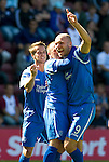 Hearts v St Johnstone...14.08.10  .Sam Parkin celebrates his goal with Jody Morris and Chris Millar.Picture by Graeme Hart..Copyright Perthshire Picture Agency.Tel: 01738 623350  Mobile: 07990 594431