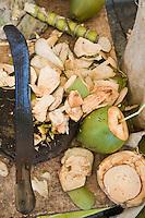 France/DOM/Martinique/ Saint-Pierre: le marché -détail étal d'une marchande de noix de coco