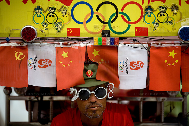 Street performers entertain crowds outside the Olympic Games venues in Beijing, China on Monday, August 4, 2008. The city of Beijing is gearing up for the opening ceremonies of the Olympic Games.  Kevin German