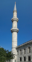 Low angle view of minaret, Sultan Ahmed Mosque, or Blue Mosque, 1609-16, by Mehmet Aga, Istanbul, Turkey, pictured on May 21, 2011, in the afternoon. The Sultan Ahmed Mosque, commissioned by Sultan Ahmed I, was built near the Hagia Sophia and combines Byzantine style with Islamic architecture. The historical areas of the city were declared a UNESCO World Heritage Site in 1985. Picture by Manuel Cohen.