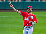 26 July 2013: Washington Nationals outfielder Bryce Harper tosses the ball around during a pitching change against the New York Mets at Nationals Park in Washington, DC. The Mets shut out the Nationals 11-0 in the first game of their day/night doubleheader. Mandatory Credit: Ed Wolfstein Photo *** RAW (NEF) Image File Available ***