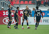 Philadelphia Union midfielder Justin Mapp #22 celebrates a goal during an MLS game between the Philadelphia Union and the Toronto FC at BMO Field in Toronto on May 28, 2011..