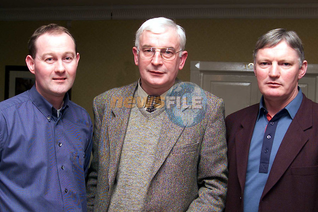 Derek Cullen, assistant PRO, Frank Bruton, PRO and Micheal Scully, quizmaster at the Slane Credit Union table quiz..Picture:Newsfile