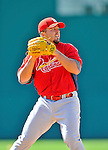 12 March 2012: St. Louis Cardinals infielder Zack Cox warms up prior to a Spring Training game against the Washington Nationals at Space Coast Stadium in Viera, Florida. The Nationals defeated the Cardinals 8-4 in Grapefruit League play. Mandatory Credit: Ed Wolfstein Photo