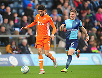Blackpool's Kelvin Mellor under pressure from Wycombe Wanderers' Dayle Southwell<br /> <br /> Photographer Kevin Barnes/CameraSport<br /> <br /> The EFL Sky Bet League Two - Wycombe Wanderers v Blackpool - Saturday 11th March 2017 - Adams Park - Wycombe<br /> <br /> World Copyright &copy; 2017 CameraSport. All rights reserved. 43 Linden Ave. Countesthorpe. Leicester. England. LE8 5PG - Tel: +44 (0) 116 277 4147 - admin@camerasport.com - www.camerasport.com