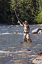 WA09129-00...WASHINGTON - Fly fishing on the Middle Fork of the Snoqualme River near North Bend. (MR# J9)