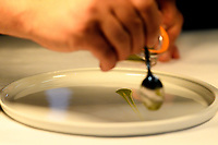 """Modena, 23 February 2017 – A chef prepares the """"An Eel Swimming Up the Po River"""" dish at a lunch service at Osteria Francescana, Modena, Italy. Photo Sydney Low"""