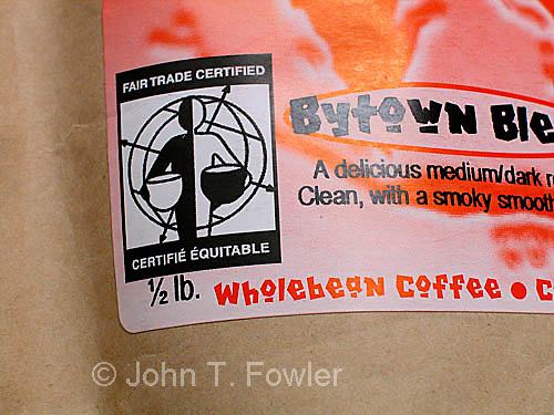 Fair trade coffee sign