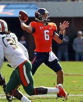 Oct 30, 2010; Charlottesville, VA, USA; Virginia Cavaliers quarterback Marc Verica (6) throws during the 1st half of the game against the Miami Hurricanes at Scott Stadium.  Mandatory Credit: Andrew Shurtleff