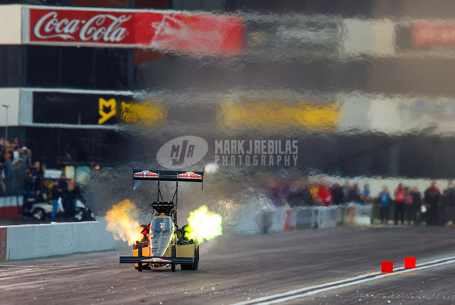 Feb 11, 2017; Pomona, CA, USA; NHRA top fuel driver Leah Pritchett qualifies number one during qualifying for the Winternationals at Auto Club Raceway at Pomona. Mandatory Credit: Mark J. Rebilas-USA TODAY Sports