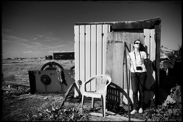 Self portrait at Dungeness, Kent, UK with shed and chair http://www.vivecakohphotography.co.uk/2010/08/22/dungeness/