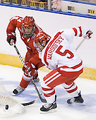 Sergio Somma (Ohio State - 44), David Warsofsky (BU - 5) - The Boston University Terriers defeated the Ohio State University Buckeyes 8-3 in the 2009 Northeast Regional Semifinal on Saturday, March 28, 2009, at the Verizon Wireless Center in Manchester, New Hampshire.