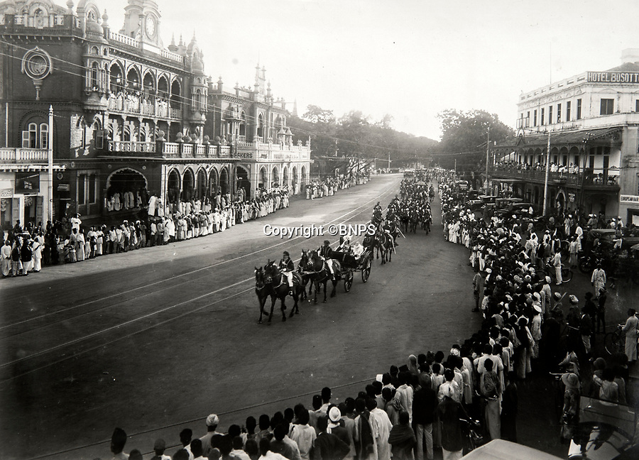 BNPS.co.uk (01202 558833)<br /> Pic: PhilYeomans/BNPS<br /> <br /> Crowds lined the streets of Madras when Cicely Winifred Goschen, daughter of the Governor,  married Major Edward Bertram Portal in a spectacular wedding in November 1926.<br /> <br /> Last Days of the Raj - A fascinating family album from one of the last Viceroy's of India reveal Britain's 'Jewel in the Crown' in all its splendour.<br /> <br /> The family album of Viscount George Goschen has been unearthed after 90 years, and provide's an amazing snapshot of the pomp and pageantry of a wealthy and powerful British family in India in the 1920s and 30's.<br /> <br /> They show the Governor of Madras and his family enjoying a lavish lifestyle of parades, banquets and hunting and horse racing in the last decades of the Raj.<br /> <br /> At the time, Gandhi was organising peasants, farmers and labourers to protest against excessive land-tax and discrimination. <br /> <br /> The album consists of some 300 large photographs. They have remained in the family for 90 years but have now emerged for auction following a house clearance and are tipped to sell for &pound;200.