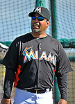 13 March 2012: Miami Marlins Manager Ozzie Guillen watches batting practice prior to a Spring Training game against the Atlanta Braves at Roger Dean Stadium in Jupiter, Florida. The two teams battled to a 2-2 tie playing 10 innings of Grapefruit League action. Mandatory Credit: Ed Wolfstein Photo