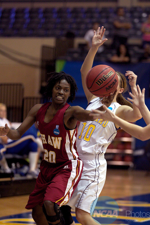 23 MAR 2012: Shemieka Brown (20) of Shaw grabs a rebound during the Division II Womens Basketball Championship held at Bill Greehey Arena in San Antonio, TX.  Shaw University defeated Ashland University 88-82 for the national title.  Rodolfo Gonzalez/ NCAA Photos