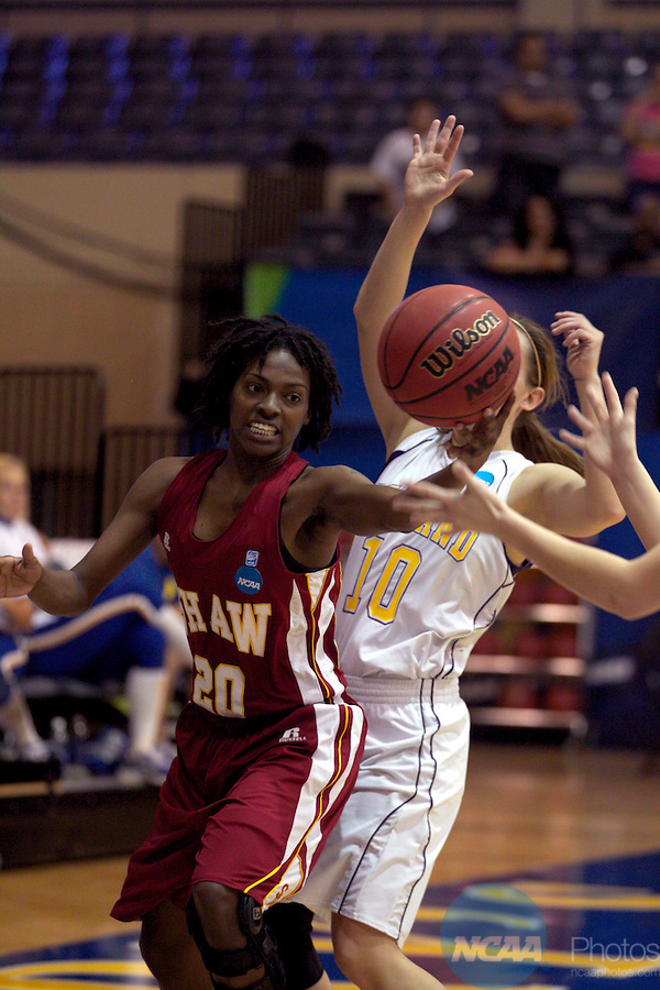 23 MAR 2012: Shemieka Brown (20) of Shaw grabs a rebound during the Division II Womens Basketball Championship held at Bill Greehey Arena in San Antonio, TX.  Shaw University defeated Ashland University 88-82 for the national title.  Rodolfo Gonzalez/ NCAA Photos