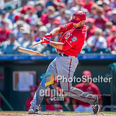 6 March 2016: Washington Nationals first baseman Clint Robinson breaks his bat on a pitch by Saint Louis Cardinal starting pitcher Deck McGuire in the first inning of a Spring Training pre-season game at Roger Dean Stadium in Jupiter, Florida. The Nationals defeated the Cardinals 5-2 in Grapefruit League play. Mandatory Credit: Ed Wolfstein Photo *** RAW (NEF) Image File Available ***